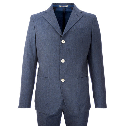 MANUEL RITZ Heather Navy Blue 2-Piece Fleece Wool Suit 113A3919X $560 NWT