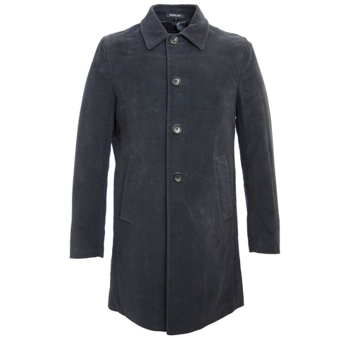 MANUEL RITZ Navy Blue Single Breasted Cotton Peacoat 113C4438 $404 NWT