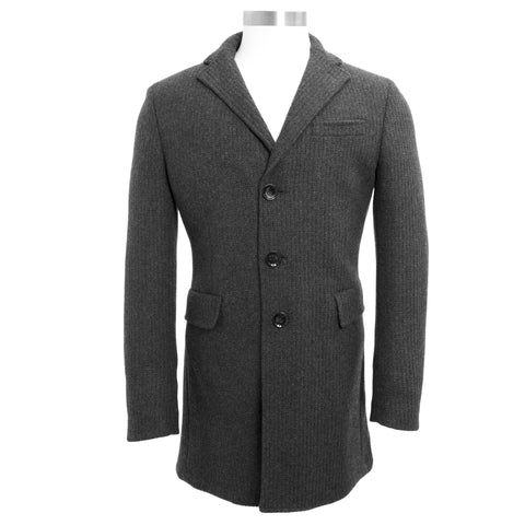 MANUEL RITZ Charcoal Wool Blend Single Breasted Peacoat 113C4488 $435 NWT