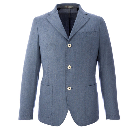 MANUEL RITZ Heather Blue Fleece Wool Suit Jacket 113A3919X Sz IT 50 $368 NWT
