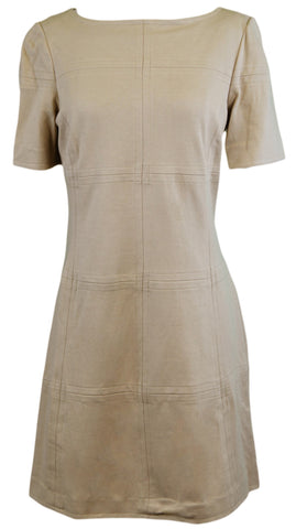 ELIZABETH MCKAY Martin Gold Half Sleeve Boat Neck Shift Dress 7063 Sz L $275 NWT