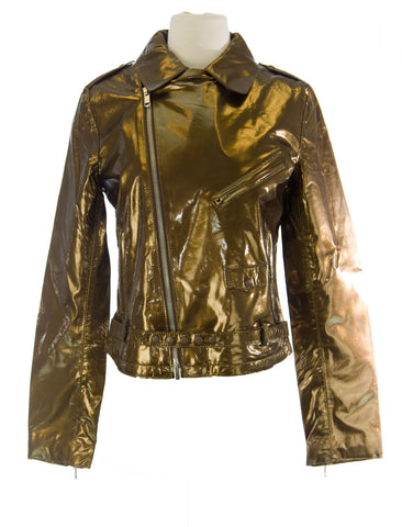 CUSTO BARCELONA Women's Perfecto Gold Diagnal Zip Jacket R793004 $800 NWT