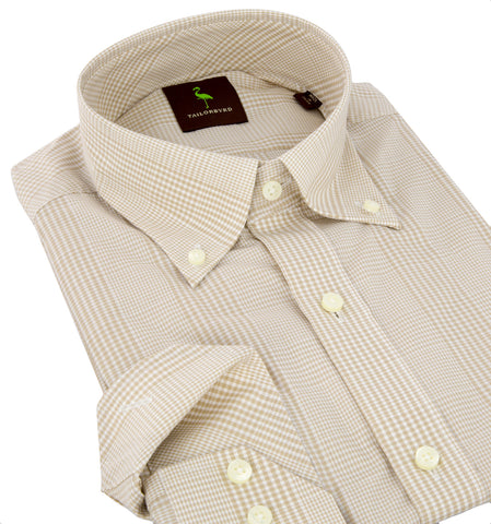 TAILORBYRD Men's Khaki 100% Cotton Checkered Dress Shirt MM3 S11-6031 $98 NEW
