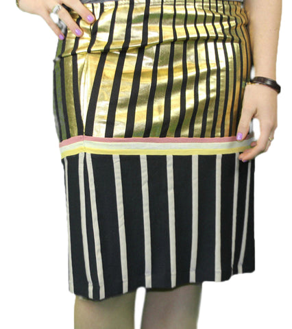 CUSTO BARCELONA Women's Nai Sun Fx Striped Pencil Skirt 293561 $120 NWT