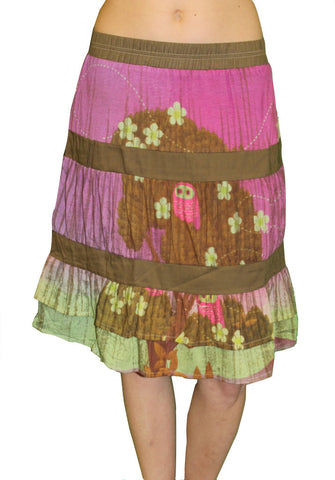 CUSTO BARCELONA Women's Army & Pink Owl Tiered Peasant Skirt 593564 $115
