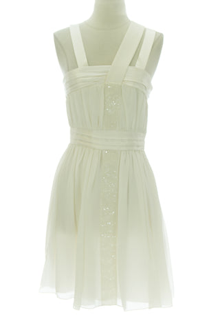 ANNE LEMAN Women's Ivory Empire Waist Plie Dress SP92DR18 $548 NEW