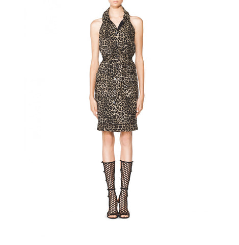 Tamara Mellon Leopard Multi Button-up Halter Dress $695 NEW