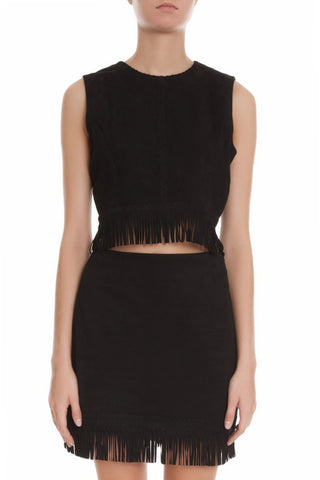 Tamara Mellon Black Suede Fringe Crop Top $595 NEW
