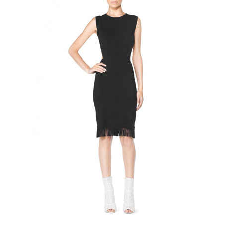 Tamara Mellon Black Suede Fringe Cutout Dress $995 NEW