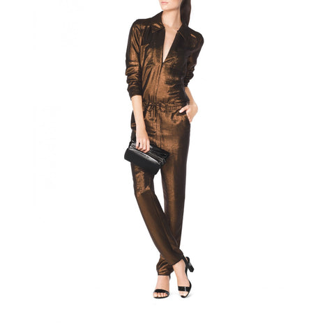 Tamara Mellon Bronze Long Sleeved Jumpsuit $1,495 NEW