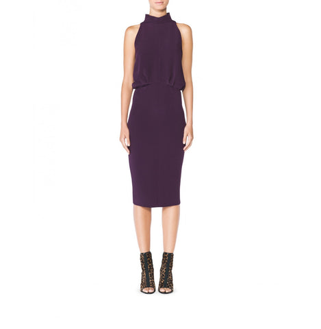 Tamara Mellon Aubergine Sleeveless Halter Dress $895 NEW