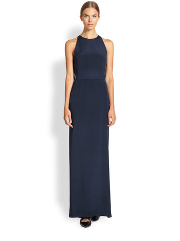 Tamara Mellon Navy Open Back Silk Jumpsuit Dress $1,295 NEW