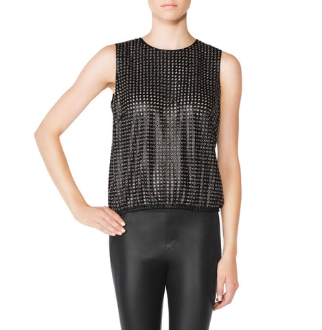 Tamara Mellon Black Grommet Leather Tank Top $1,295 NEW