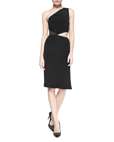 Tamara Mellon Black One Sholder Grommet Dress $895 NEW