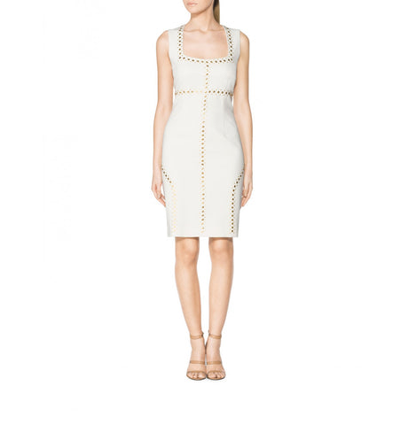 Tamara Mellon Cream Sleeveless Studded Dress $1,195 NEW