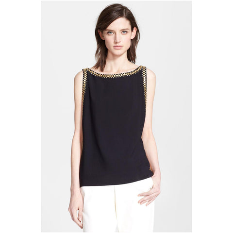 Tamara Mellon Black Sleeveless Studded Top $795 NEW