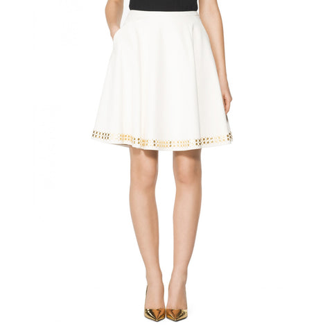 Tamara Mellon of Cream Studded Pleated Skirt $1,295 NEW