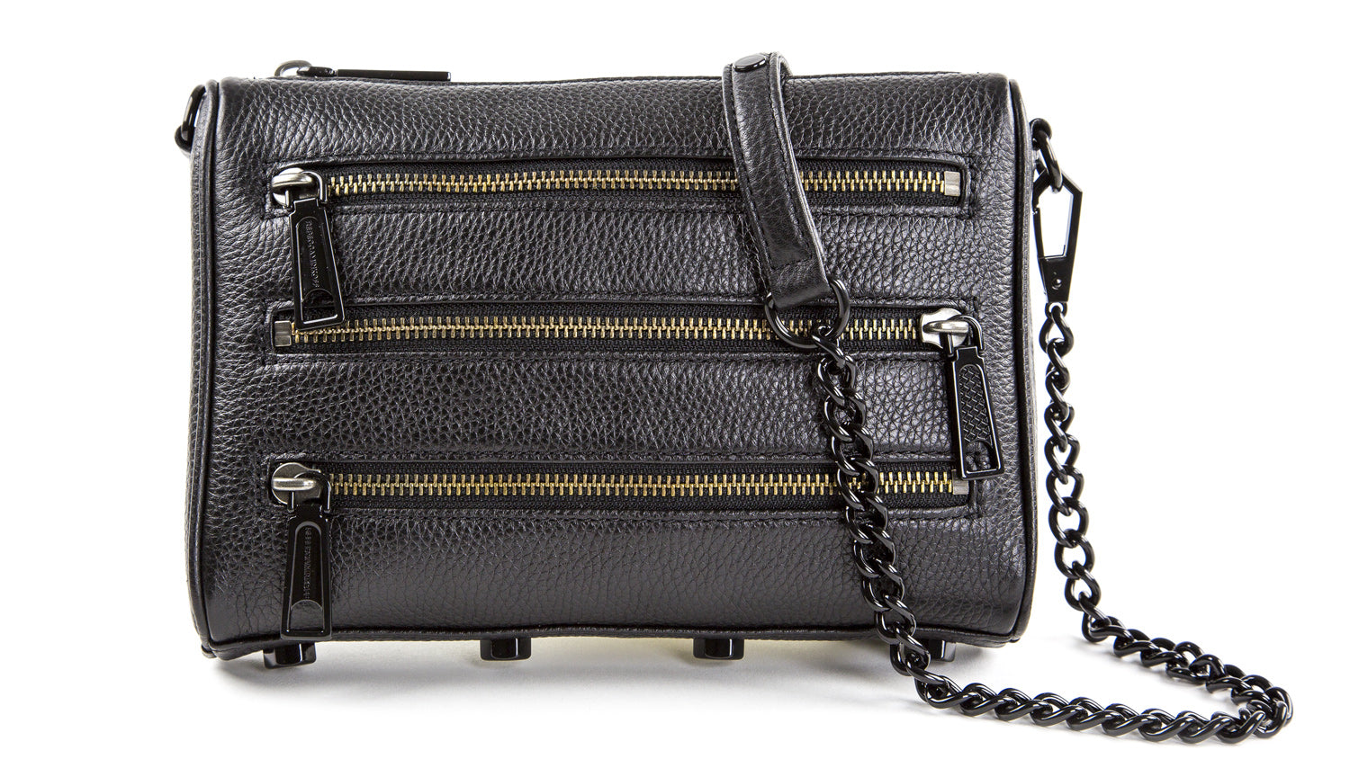 19b280ffd REBECCA MINKOFF Black/Black Shellac Mini 5-Zip Cross-body Bag $195 NEW –  Walk Into Fashion