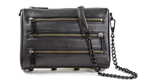 REBECCA MINKOFF Black/Black Shellac Mini 5-Zip Cross-body Bag $195 NEW