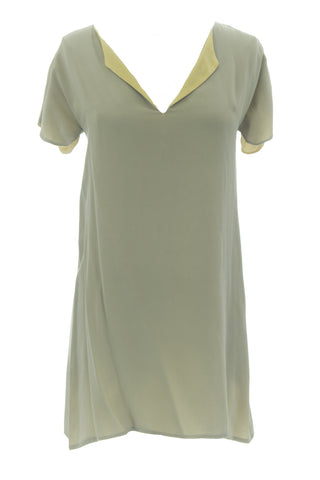 ANNE LEMAN Women's Grey/Lemon Yellow Reversible Dress 99918 $468 NEW