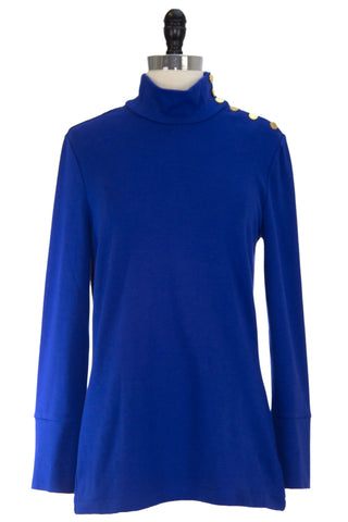 ELIZABETH MCKAY Blue Button Embellished Riley Turtleneck 7073 $215 NWT
