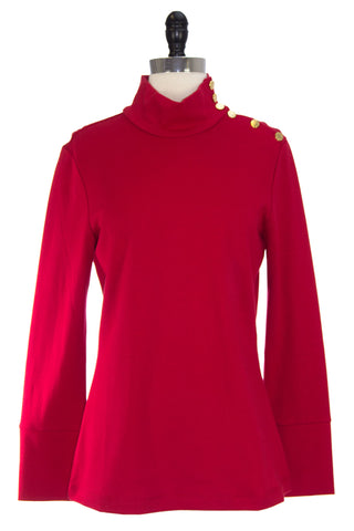 ELIZABETH MCKAY Red Button Embellished Riley Turtleneck 7073 $215 NWT