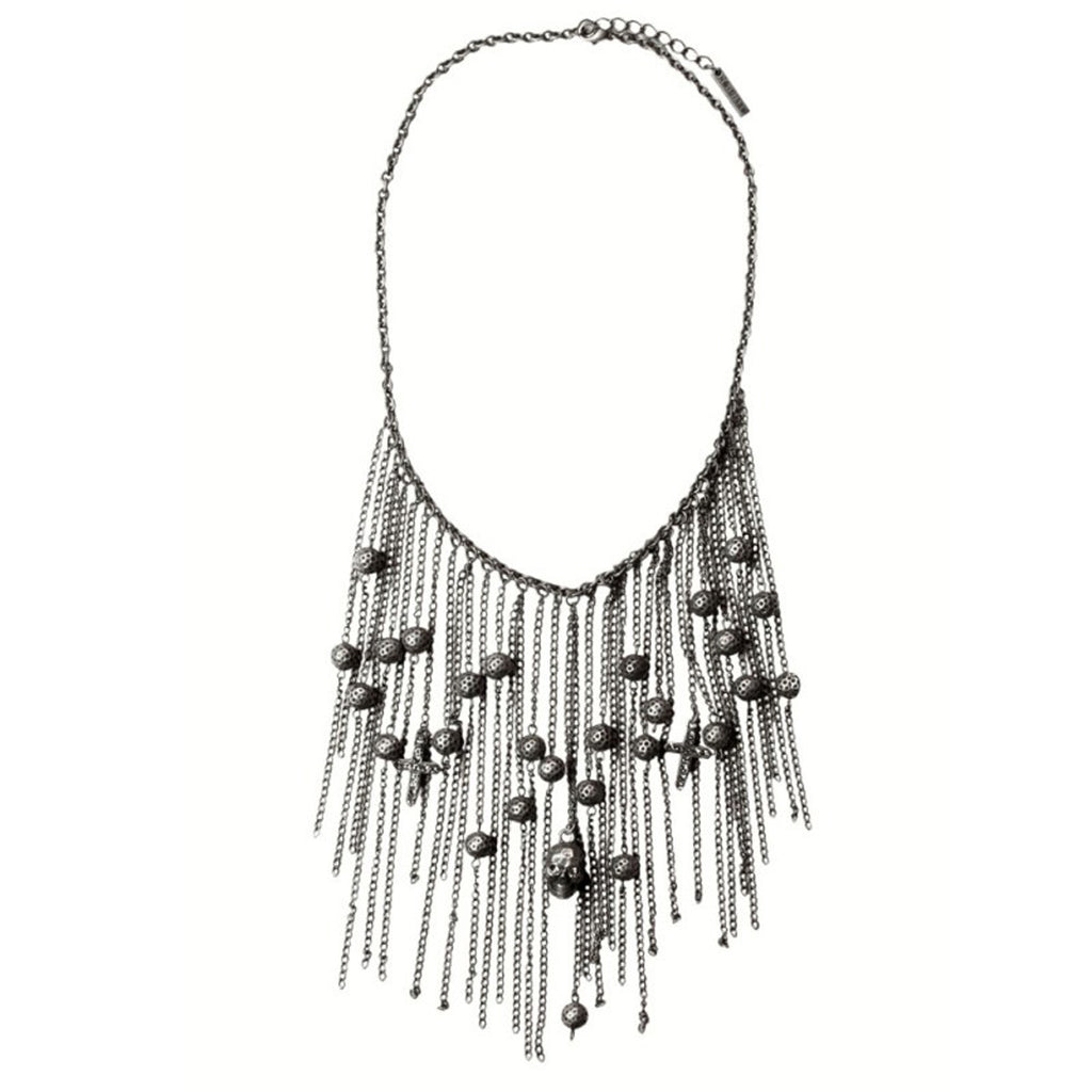 RELIGION Women's Antique Silver Beaded Skeleton Necklace RJN042 $120 NWT