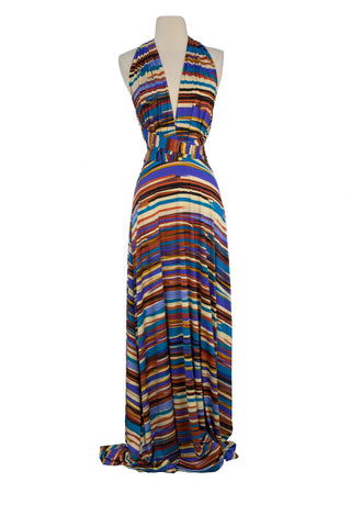 VON VONNI Women's Royal Brown Stripe Transformer Dress Long One Size VVL101 $120