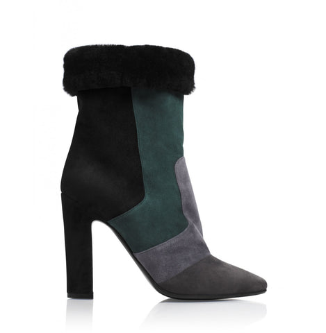Tamara Mellon Suede/Shearling Crush Boots 105MM Heels $1,195 NEW
