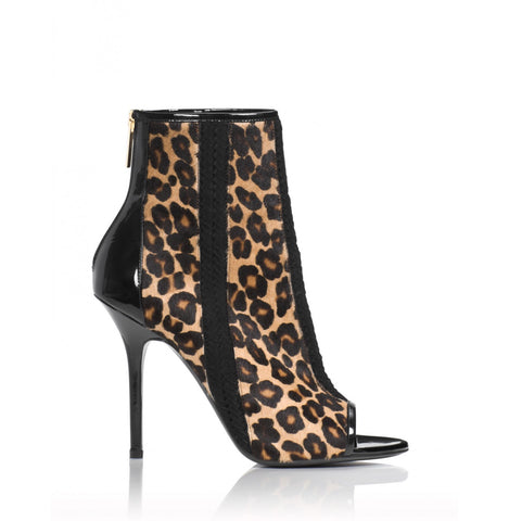 Tamara Mellon Leopard Crave Open Toe Booties 105MM Heels $1,595