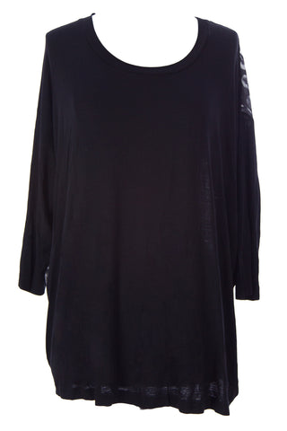 SURFACE TO AIR Women's Black Printed Section Tee $170 NEW