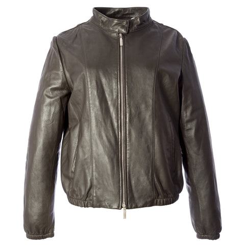 SEVENTY Dark Brown Zip Up Elastic Hem Leather Jacket 4519100 Sz IT 46 $355 NWT