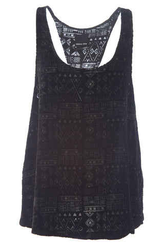DOLCE VITA Women's Sibly Black Velvet Racerback Tank Top $118 NEW