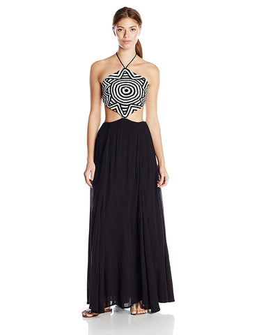 MARA HOFFMAN Black Starbasket Crochet Cover-up Maxi Dress 94900 $322 NEW