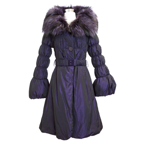 Iridescent Purple Silver Fox Fur Bell Sleeve Parka T089-VA IT 46 $2,130 NEW