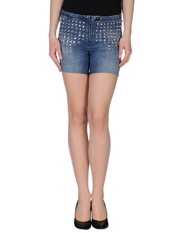 LEROCK Women's Medium Blue Studded Denim Shorts Sz 26 NEW