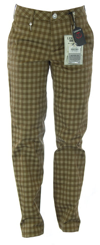 LEROCK Women's Brown Checkered Straight Leg Soft Fit High Waist Pants NEW