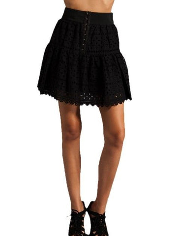 THE REFORMATION Wench Black Front Hook Closure Eyelet Skirt EKX0054 $275 NEW