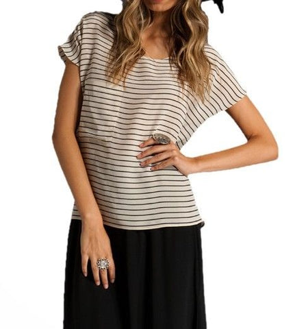THE REFORMATION Wide Stripe Front Pocket Silk Sailor Top EPX0050 $132 NEW