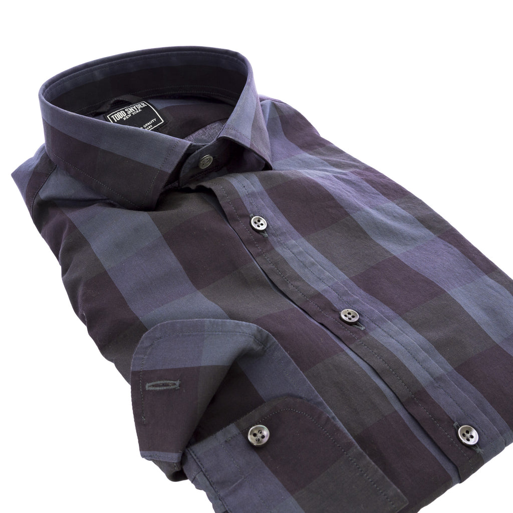 TODD SNYDER Men's Navy Checkered Button-Down Shirt $225 NEW