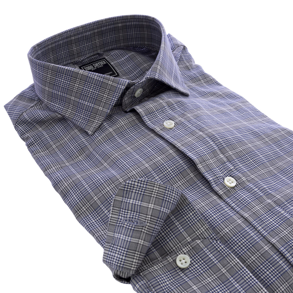 TODD SNYDER Men's Navy Plaid Button-Down Shirt $225 NEW