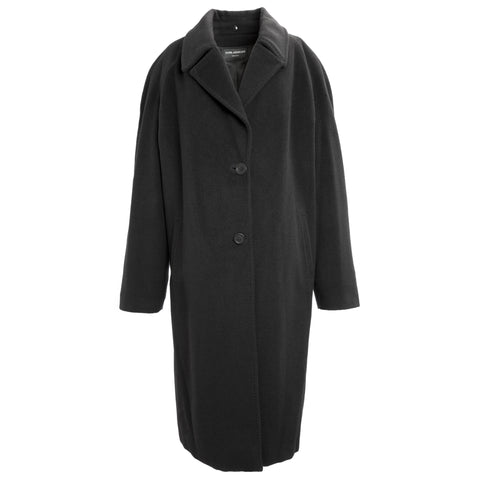 TONIA ANDRESINI Black Merino Wool Single Breasted Peacoat 1090 IT 54 $968 NWT