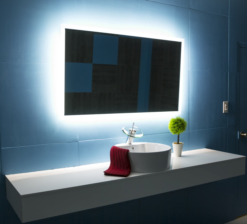 bathroom mirror backlit backlit bathroom mirror rectangle 48 x 28 in ib mirror 11003