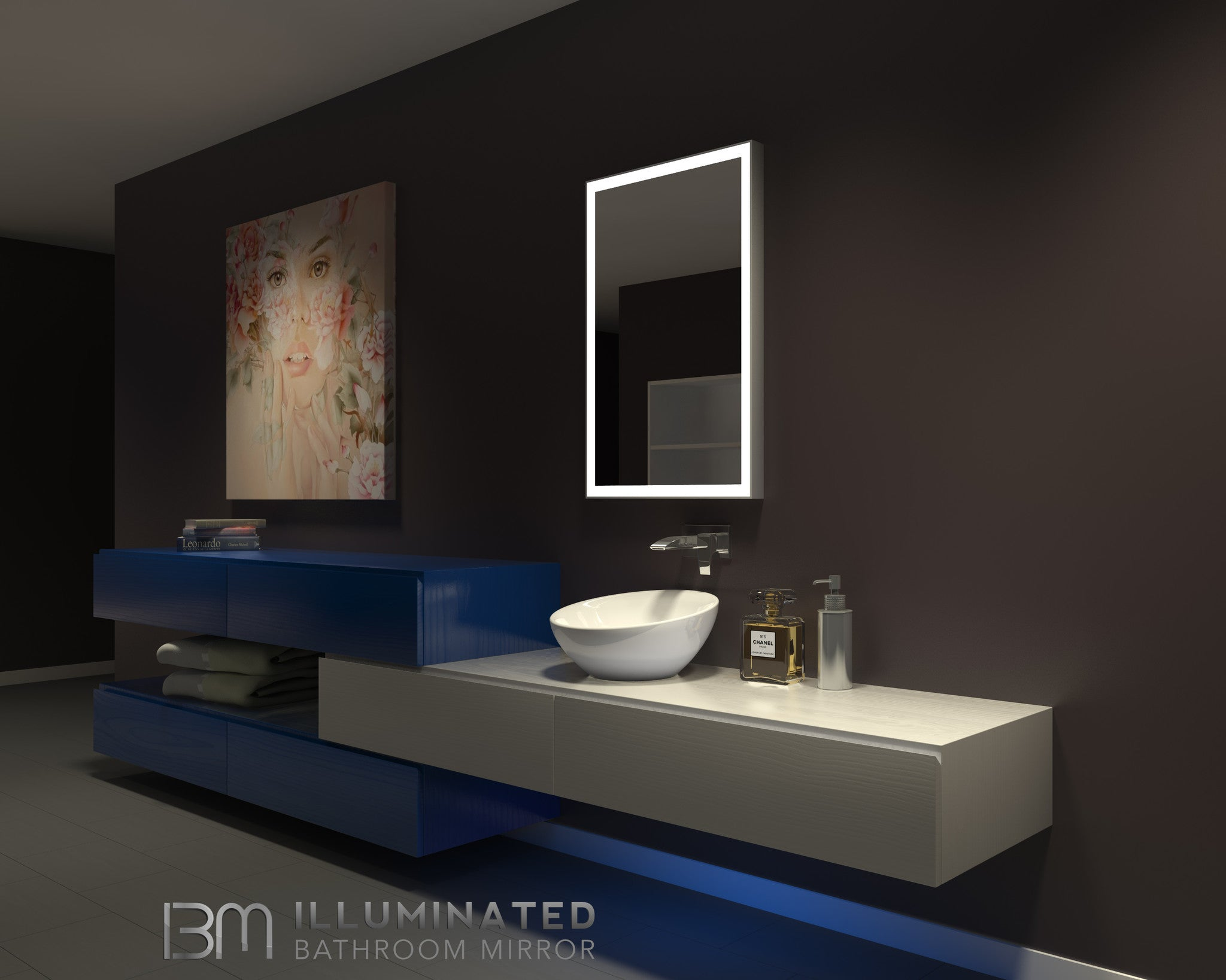 Lighted Bathroom Wall Mirror modern lighted bathroom mirror & backlit bathroom mirror – ib mirror