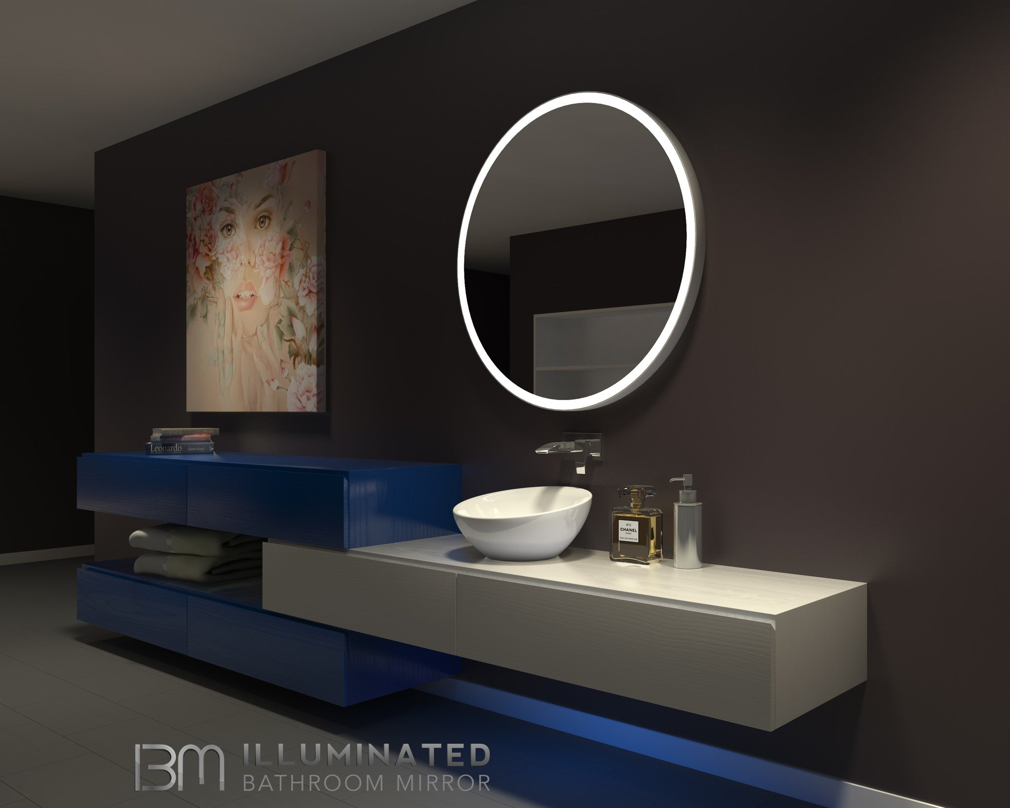Dimmable Lighted Bathroom Mirror Round Galaxy 40 X 40 Ib Mirror