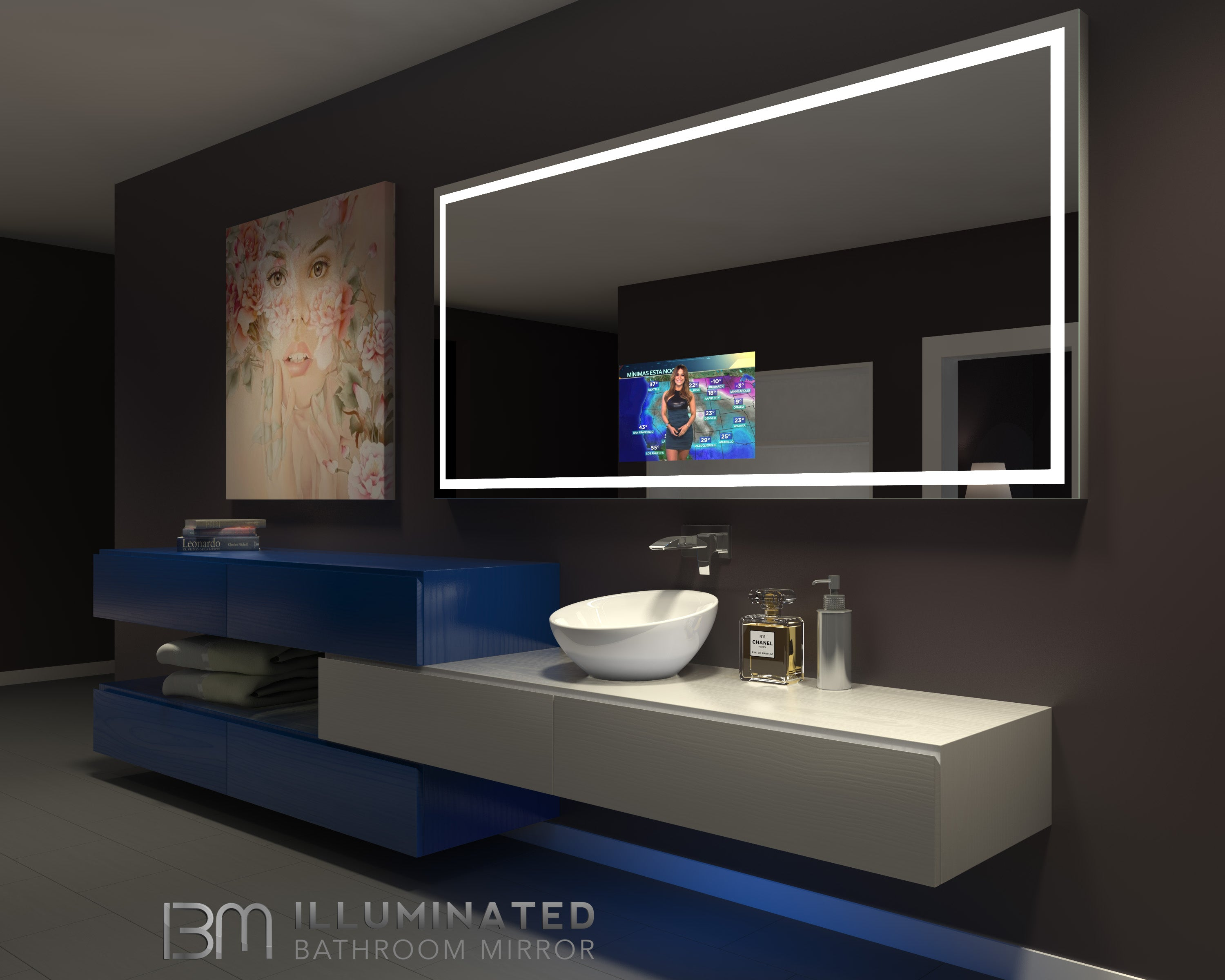Lighted mirror with TV Harmony 85 X 40