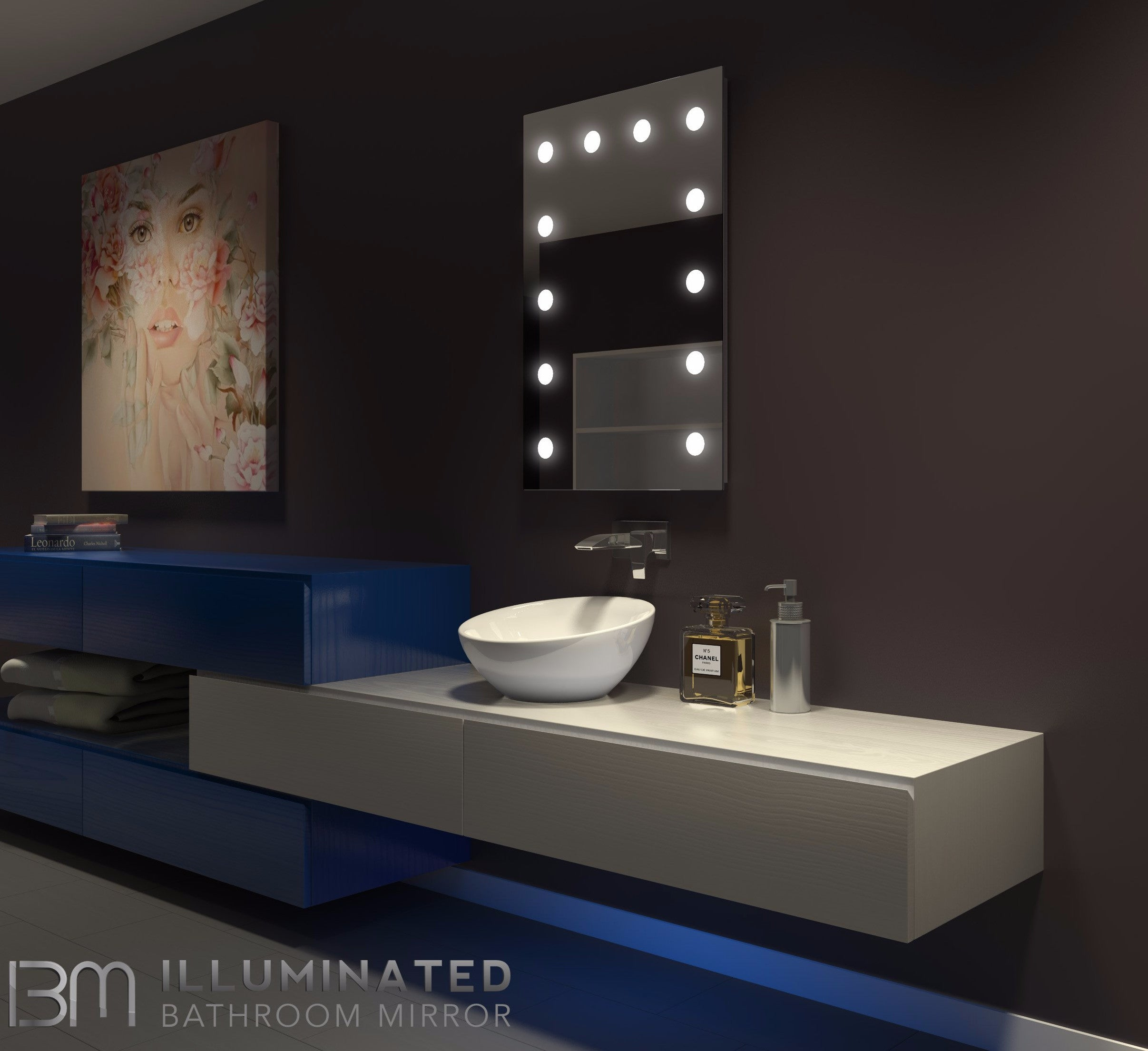 Dimmable Hollywood Mirror  24 x 36