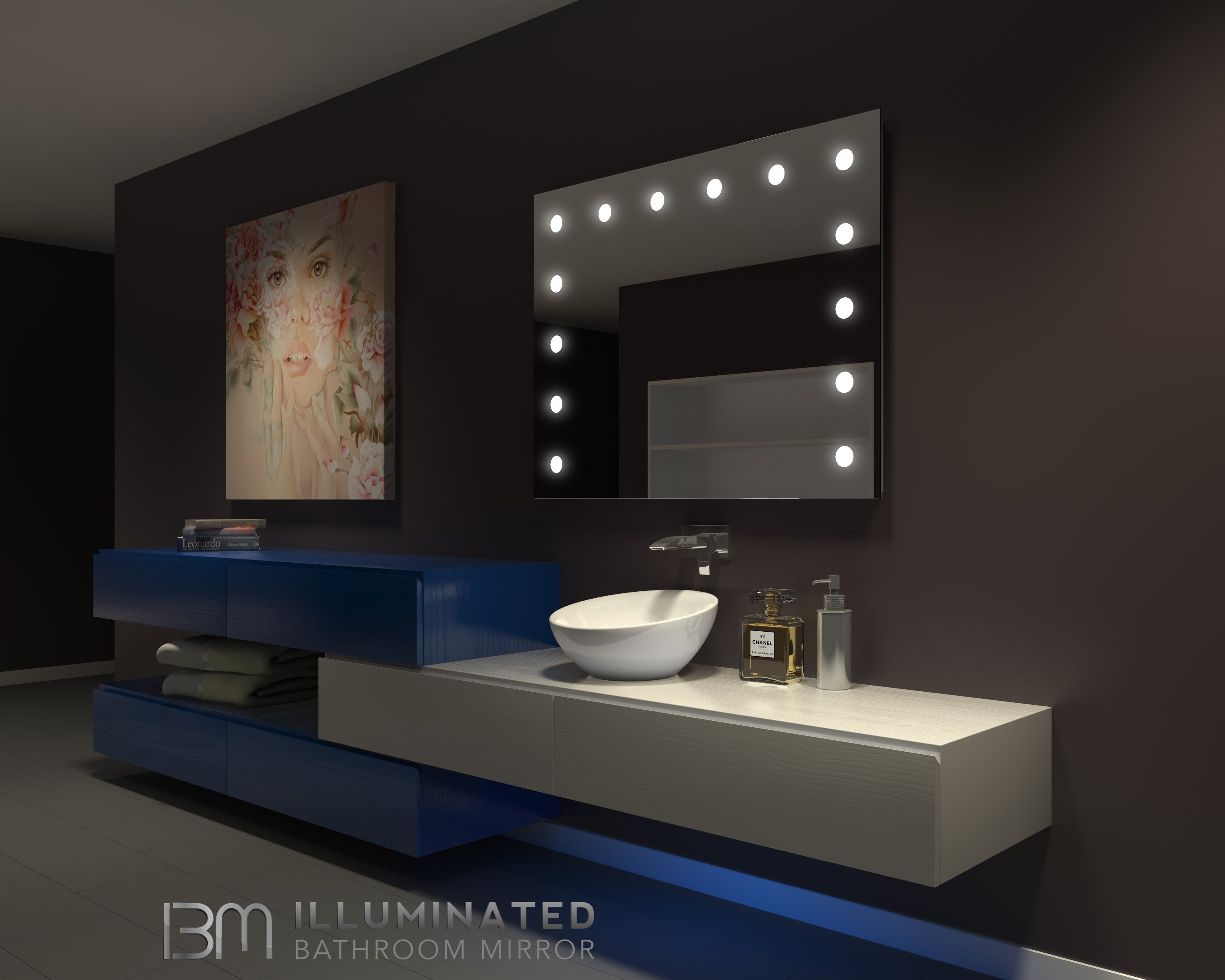 Dimmable Hollywood Mirror  48 x 36