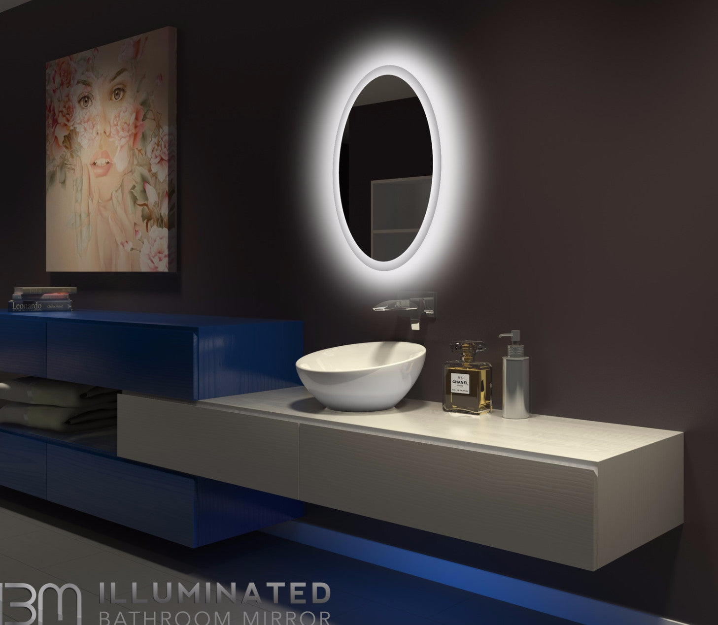 Dimmable Backlit Mirror Oval 20 X 28