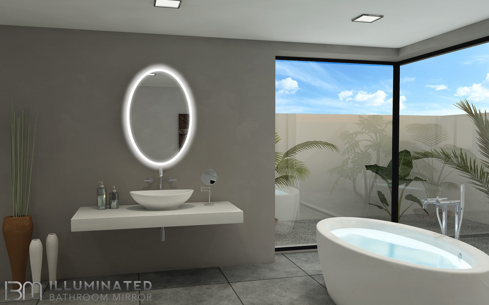 backlit bathroom mirror oval 24 x 36 in – ib mirror